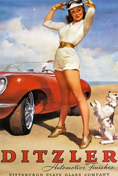 Ditzler automotive finishes ad with fetching young pin up, convertible, and her dog