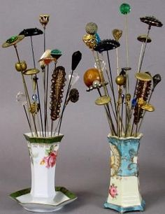 VINTAGE HAT PINS AND PORCELAIN HAT PIN HOLDERS