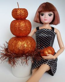 b429ae7339c9 DIY Barbie Blog   Stacked Pumpkin Topiary Barbie Accessory from Dollar Tree  Pumpkins and Recycled K
