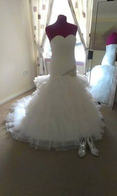 this dress is a wonderful,beautiful drop waist,mermaid with the cute ruffles at the bottom . i think dress is really beautiful and sexy at the same moment and i would love for this dress to be my wedding dress one day in the future .