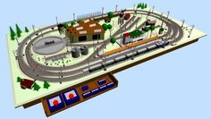 Small Model Train Layouts & Track Plans in HO scale - Various projects, designed with SCARM layout software Ho Scale Train Layout, Ho Train Layouts, Train Miniature Ho, Model Trains Ho Scale, Model Railway Track Plans, Hobby Trains, Round House, Train Set, Software