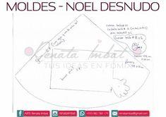Papá Noel Fofucho en calzones con moldes - Marina Creativa 1, Chart, Yorkshire, Facebook, Adhd, Christmas, Christmas Crafts, Crochet Dolls, Tejido