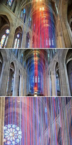 Installation Art...Installation by Anne Patterson in Grace Cathedral, San Francisco, 20 miles of colourful ribbon hanging from the vaulted ceiling.