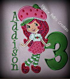 Strawberry Shortcake birthday Custom Shirt/ by oDoodleBugDesigns, $28.00