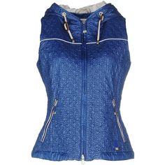 Geospirit Lejeuchic Jacket (£97) ❤ liked on Polyvore featuring outerwear, jackets, azure, zip jacket, blue zipper jacket, blue jackets, sleeveless jacket and blue sleeveless jacket