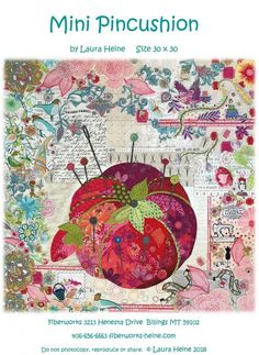"""Mini Pincushion Collage Pattern by Laura Heine. This is a smaller version of Laura's pattern """"Pincushion"""". Full size pattern and complete color instructions included. Hand Work Embroidery, Embroidery Stitches, Embroidery Patterns, Crazy Quilt Blocks, Crazy Quilting, Crazy Quilt Tutorials, Laura Heine, Simple Collage, Paper Collage Art"""