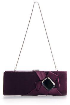 Elegant Purple Handbag With Big Artificial Gemstone