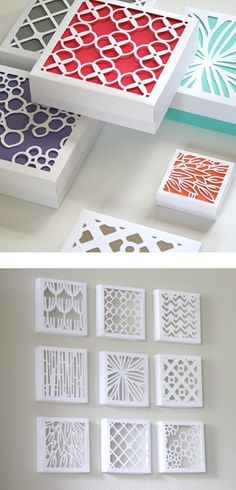 Cut boxes and put colored paper behind