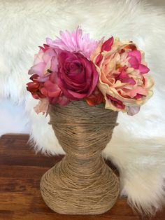 Peach & Pink Flower Crown / Bright Pastel mix  / Boho / Festival / Racewear / Flower Girl / Hair Flowers / Bridesmaid / Hens day idea by FauxFloralCo on Etsy https://www.etsy.com/au/listing/470784497/peach-pink-flower-crown-bright-pastel