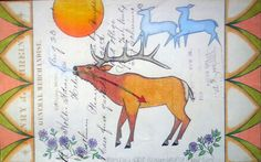 "Project #5: Best Day Ledger Art ""Mountain Elk Blues"" by Black Pinto Horse (Monte Yellow Bird). This image will be used to demonstrate storytelling using traditional Native American Ledger Art as inspiration."