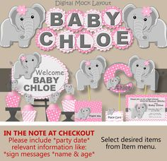 Elephant Baby Shower (Pink)- Birthday Invitation, Banner, Decoration, Favor, Decor, Centerpiece, Invite
