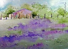 Lavender Field Watercolor Painting by RoseAnn Hayes. This is a painting of an old French farmhouse next to a field of lavender. Prints are available in my Etsy shop. Watercolor Pictures, Watercolor Cards, Watercolor Print, Watercolor Illustration, Watercolour Painting, Watercolor Flowers, Painting Prints, Watercolours, Easy Watercolor