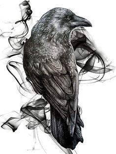 'crow gothic bird raven realism drawing sketch tattoo' Art Print by RISHAMA Tattoo Sketches, Tattoo Drawings, Body Art Tattoos, Drawing Sketches, Sleeve Tattoos, Cool Tattoos, Tatoos, Hand Tattoos, Crow Art