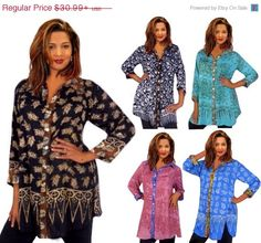 ENJOY 15% OFF G423 Batik Combination Button Down Classic Shirt Art To Wear Made To Order s m l xl 1x 2x 3x 4x 5x 6x Misses Plus Designer Clo by LotusTradersClothing on Etsy