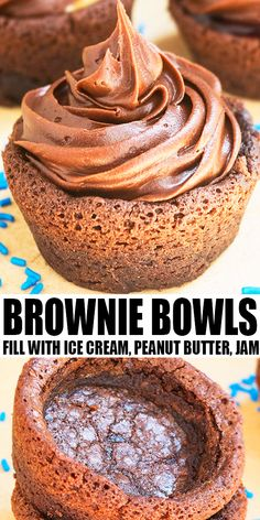 BROWNIE BOWLS RECIPE AND TUTORIAL- Learn how to make quick and easy homemade brownie bowls in 30 minutes with simple ingredients, using muffin tins or cupcake pans. Change the filling, frosting and decorations to fit theme of any event. Great for ice cream sundaes with salted caramel sauce or fudge sauce.  From CakeWhiz.com #brownies #dessert #chocolate Brownie Recipes, Cupcake Recipes, Chocolate Recipes, Baking Recipes, Cookie Recipes, Dessert Chocolate, Chocolate Fudge, Candy Recipes, Easy Gluten Free Desserts
