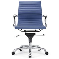 Mid-Back Vegan Leather Executive Managerial Chair with Arms