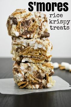 S'mores Rice Krispy Treats 4 Tbsp butter  6 cups marshmallows 1 tsp vanilla  3 cups rice krispies 2 cups Golden Grahams  3/4 cup Marshmallow Bits  3/4 cup chocolate chips