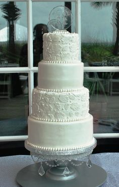 Vintage lace- White  wedding cake_The Cake Zone, www.thecakezone.com