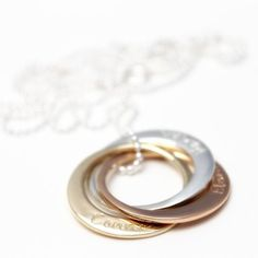 Fickle's Linked Rounds Three Tone Hand Stamped Jewelry, Solid Gold, Silver Rings, Pendants, Jewellery, Lady, Collection, Jewels, Jewelry Shop