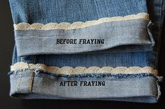 Jeans hem with lace, next summer I'm SOOO doing this! Cute and easy!