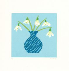 Image of Snowdrops - Limited Edition Screenprint - Alice Melvin