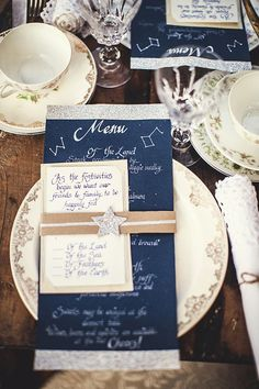 beautiful starry night inspired wedding table settings
