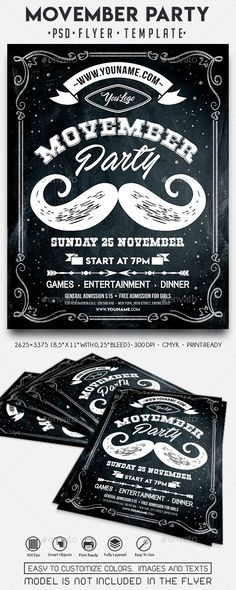 Movember Party Flyer Template PSD