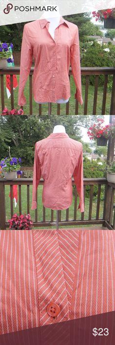 🌼🌼 Talbots 🍊🍁🍂 Coral Striped Blouse 100% Cotton, EUC  Smoke-free house Talbots Tops Button Down Shirts