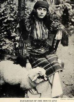 the costume from the Macedonian section of Bulgaria and with her stands her pet lamb. In Turkish days lambs were used as pets, just like cats or dogs, and today the custom is still found in many parts of the country. Old Pictures, Old Photos, Vintage Photos, Republic Of Macedonia, European Dress, Old Photography, Folk Costume, Albania, Eastern Europe