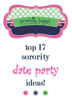 Date and Crush parties can be creative and exciting! Date functions are a little different than mixers and exchanges. They focus more on couples and pairing up. Check out these ideas for a creative chapter DATE FUNCTION this fall! <3 BLOG LINK: http://sororitysugar.tumblr.com/post/94838874364/fun-fabulous-sorority-date-party-ideas#notes