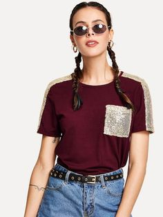 Shop Contrast Sequin T-shirt online. SheIn offers Contrast Sequin T-shirt & more to fit your fashionable needs. Skirt Fashion, Fashion Outfits, Fashion Fashion, Fashion Ideas, Vintage Fashion, Mode Hijab, T Shirts For Women, Clothes For Women, Fast Fashion