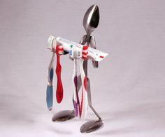 Fork art toothbrush holder.