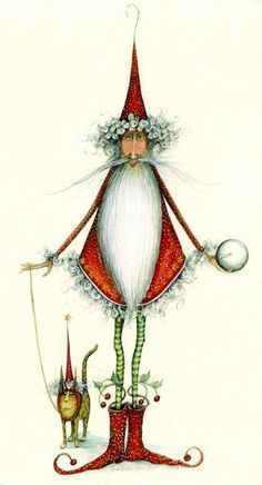 Drawing - Patience Brewster by Rayne Neilson Noel Christmas, Vintage Christmas Cards, Xmas Cards, Winter Christmas, Christmas Crafts, Christmas Decorations, Father Christmas, Whimsical Christmas Art, Unique Christmas Ornaments