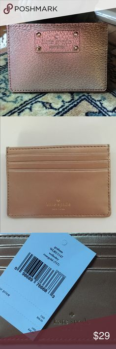 Kate Spade Rosegold ID Cardholder NWT Rosegold  leather Graham ID cardholder, gold hardware, 3 card slots, 1 storage pocket, approx 3x4.25. PRICE FIRM kate spade Accessories Key & Card Holders
