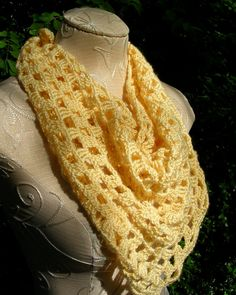 Lacy Crocheted Triangle Scarf In Yellow