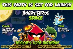 Celebrate a birthday or special event with a customized Angry Birds Space birthday party invitation.  Save time & money by printing your own invites and announcements at your own photo service (CVS, Target, Walmart, Shutterfly, etc.)
