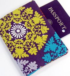 Passport Cover  Big Bright Medallion by GracieDesigns on Etsy