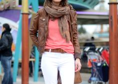 brown leather jacket with white jeans and pink shirt...cute