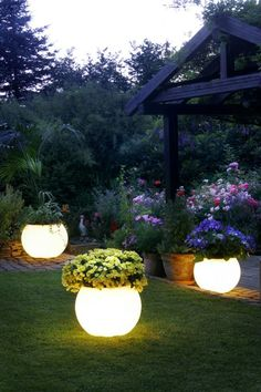 Multi-functional outdoor planters / lights