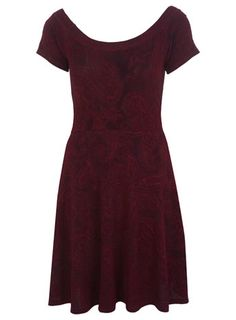Paisley Textured Skater Dress - Dresses  - Clothing