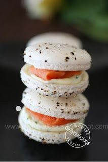 Pepper macarons with smoked salmon