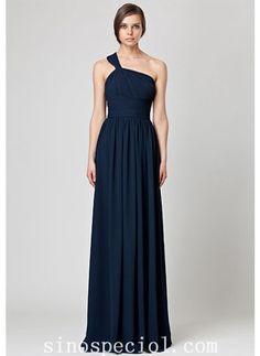 A-line Dark Navy One-shoulder Floor Length Chiffon Bridesmaid Dress