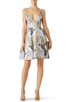 Rent Metallic Floral Cocktail Dress by Marchesa Notte for $85 - $120 only at Rent the Runway.