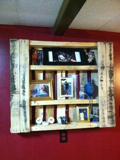 DIY Pallet Shelf- Kitchen Decor, maybe add some doors with hinges!
