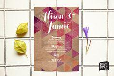 Geometric Invitation, Watercolor Invitation, Kraft Wedding - digital or printed, modern wedding, engagement invite, geometric, watercolour par RubyMayDesign sur Etsy