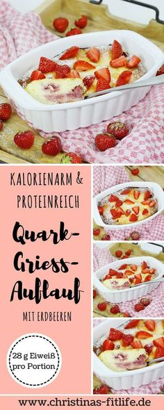 You need a slightly different breakfast idea? How about a quark semolina casserole with strawberries? One serving has only 288 calories and a whopping of protein and is very filling! ᐅ Quark-Grieß-Auflauf mit Erdbeeren I Christinas Fitlife – Rezepte Breakfast Desayunos, Breakfast Casserole, Breakfast Recipes, Breakfast Healthy, Baby Food Recipes, Dessert Recipes, Healthy Recipes, Quark Recipes, Snacks Recipes