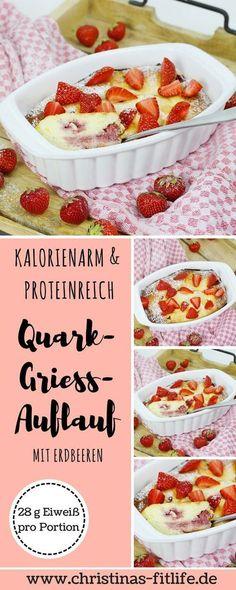 Ihr benötigt mal eine etwas andere Frühstücksidee? Wie wäre es mit einem Quark-Grieß-Auflauf mit Erdbeeren? Eine Portion hat nur 288 Kalorien und ganze 28 g Protein und ist sehr sättigend!