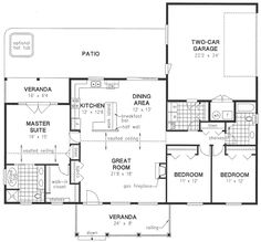 First Floor Plan of Ranch   House Plan 58550