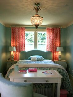 Small bedroom layout. Love the colors and the pendant light