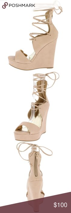 ELEANOR NUDE WAVE LACE UP WEDGE There in! Be ready for any occasion with these babies in your closet. Features an open toe and a platform wedge silhouette. A wave-like design going into the extended shaft with an adjustable lace up closure. A zipper on the back of the wedge for an easy on and off. Approximate heel height 5 inches. Approximate platform height 1 1/2 inches. Size 8.5. Brand new in box, only taken out to be photographed. Only one in stock! Shoes Wedges